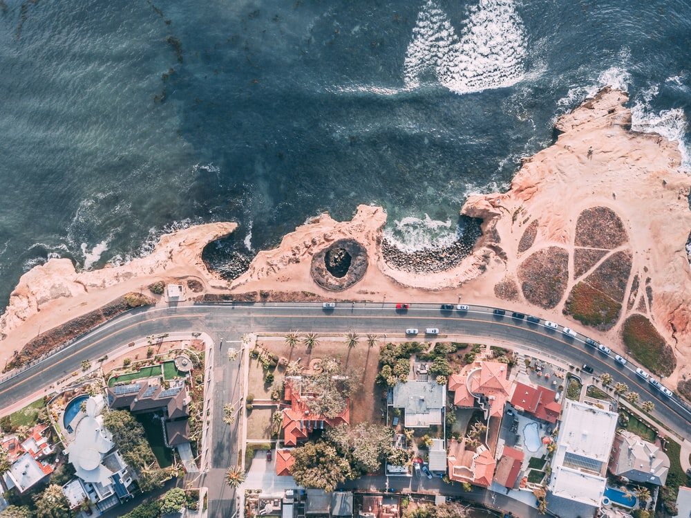 bird's eye view of sea and town