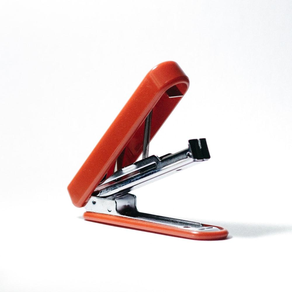 orange stapler opened