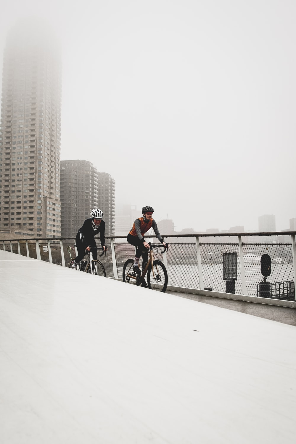 two men riding on bicycle on bridge at daytime