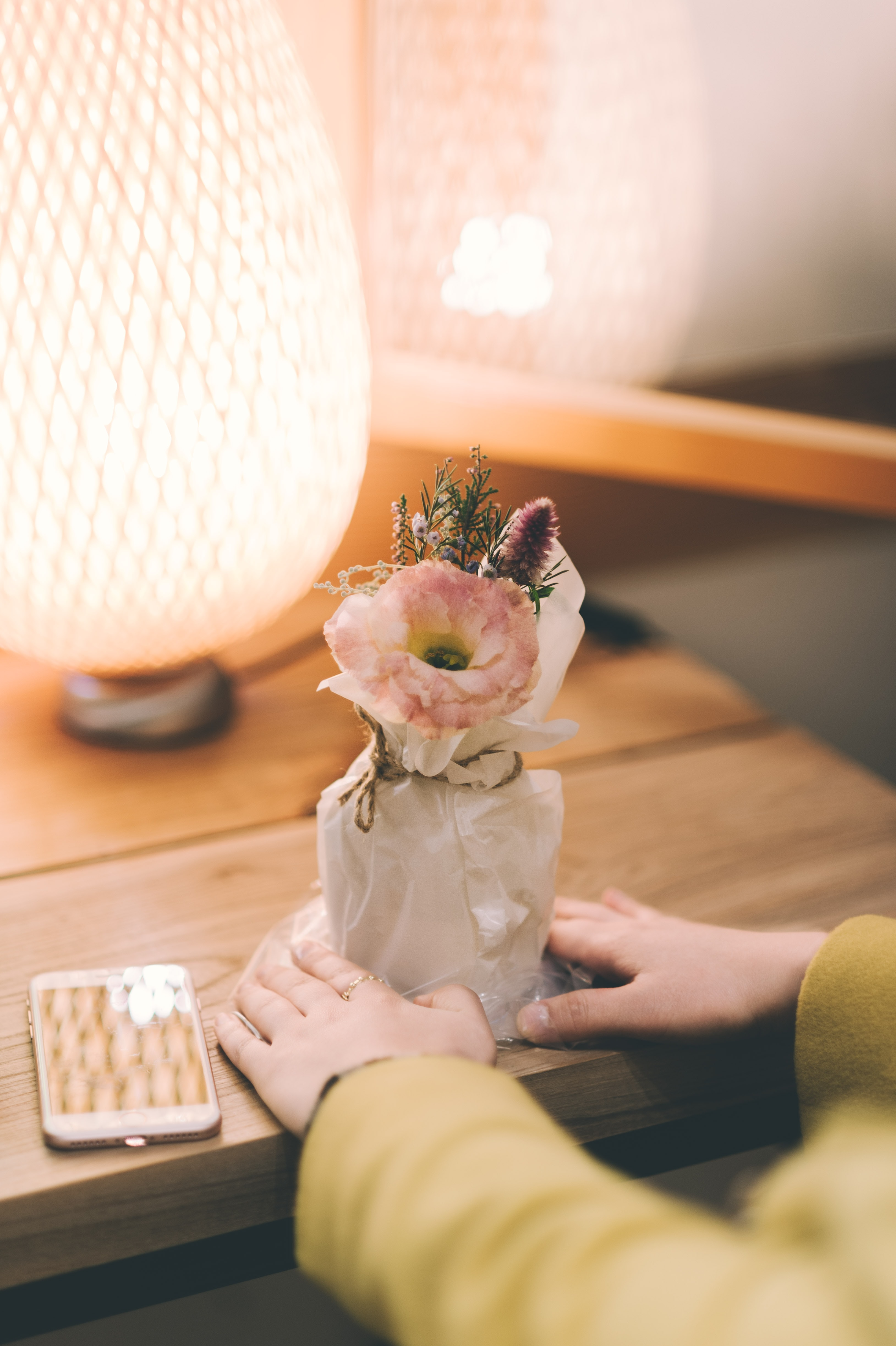 person holding white and pink flowers in pot on table