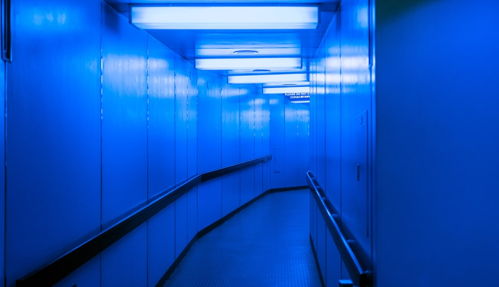 hallway with blue lights on