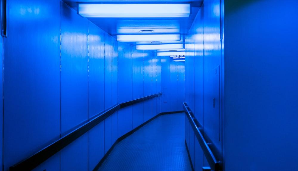 hallway with blue lights on