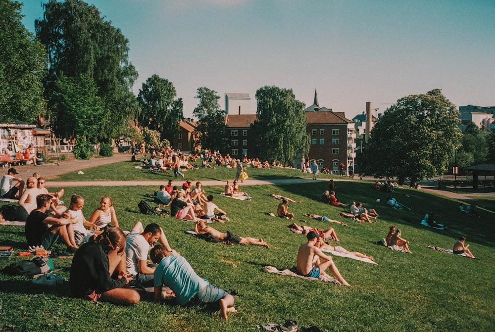 couple gathering on park