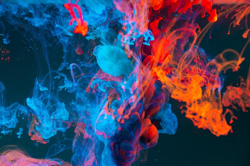 blue and orange smoke