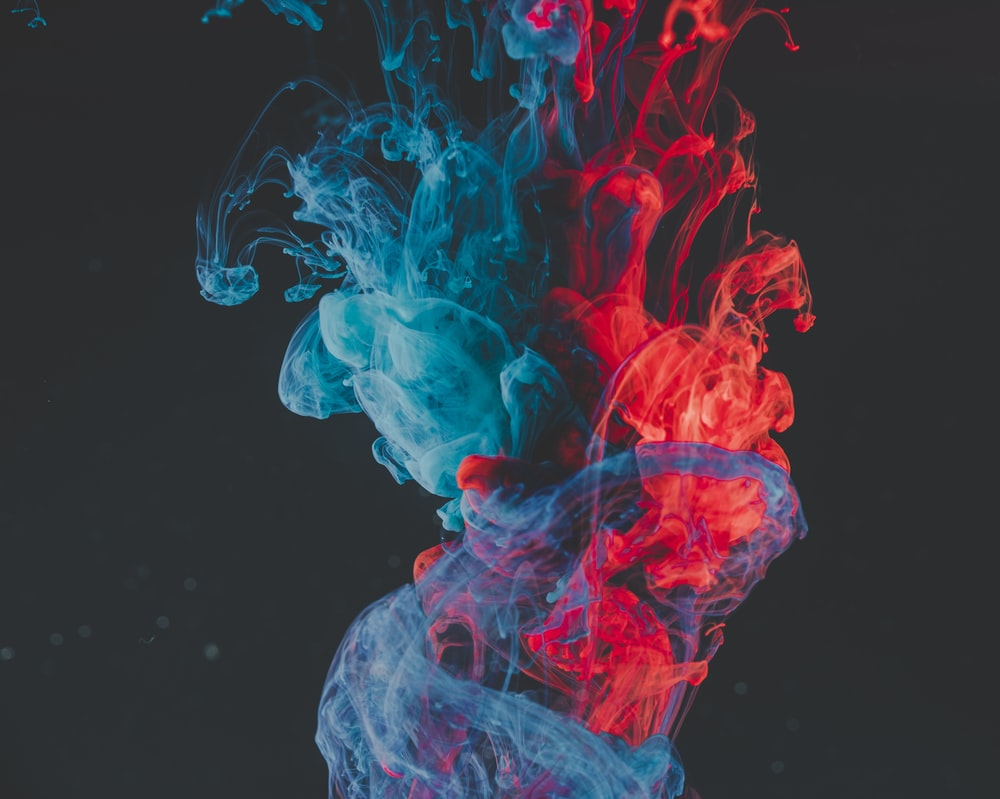 blue and red smoke illustration