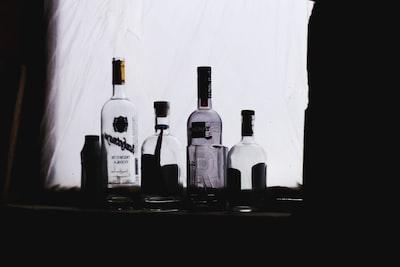 Some empty bottles of vodka left the night.