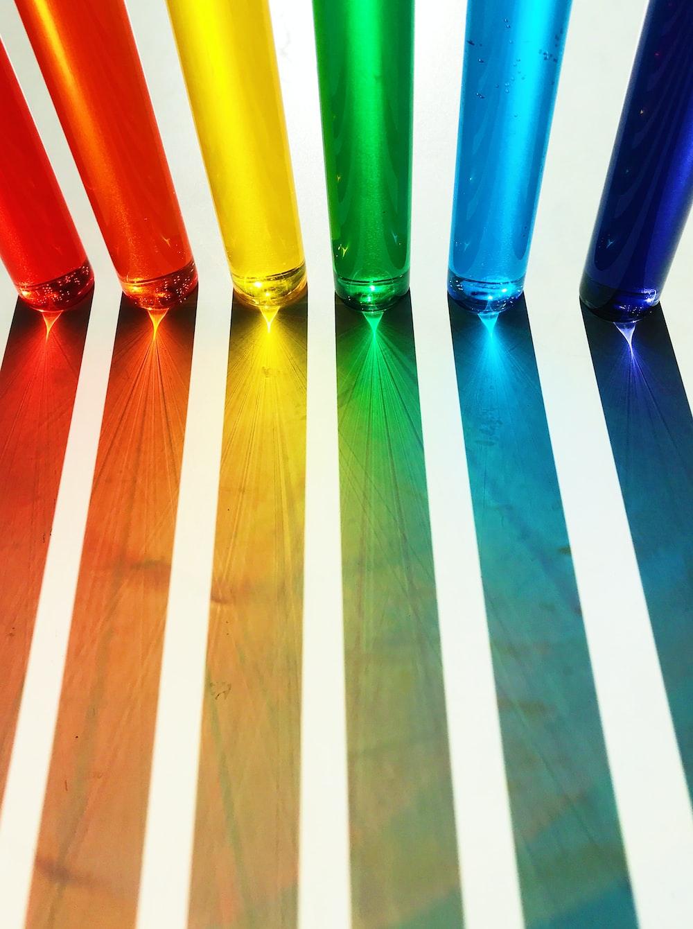 assorted-color glass decor