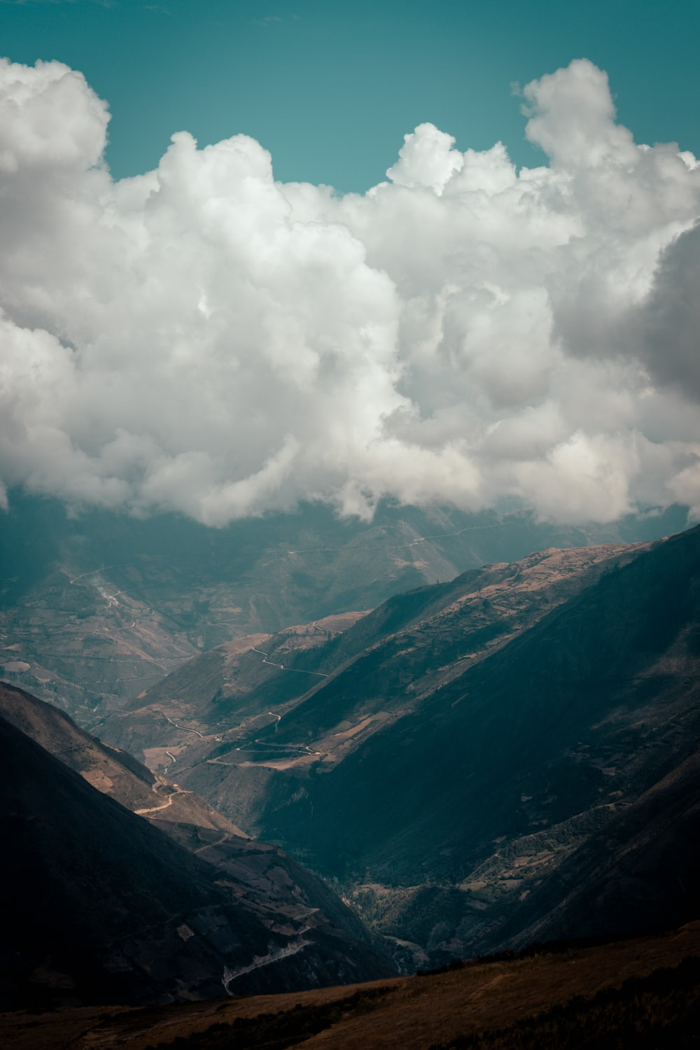 aerial photography of mountain range