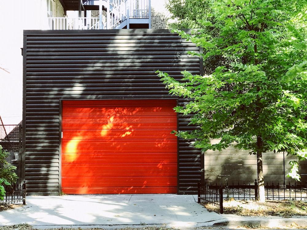 red closed door shutter