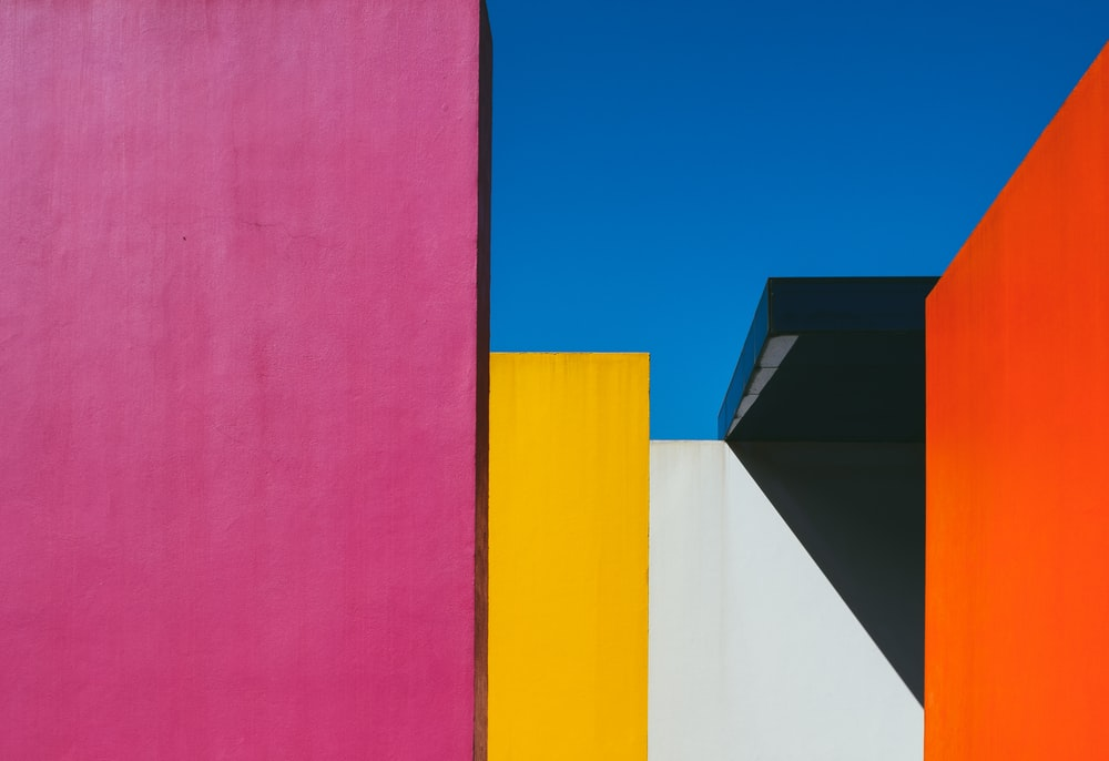multicolored painted building walls