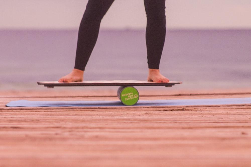 person on balance board