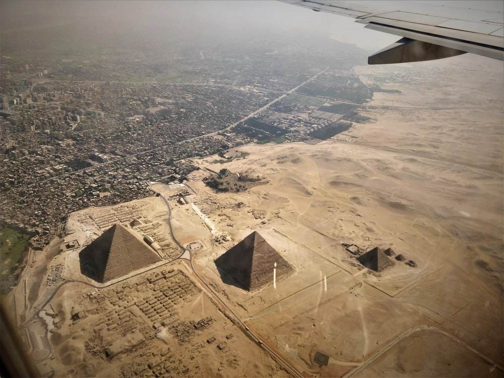 aerial photography of pyramids of Egypt