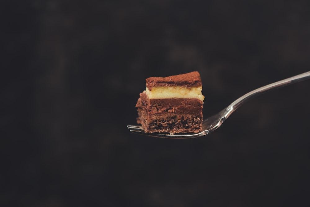slice of cake on fork