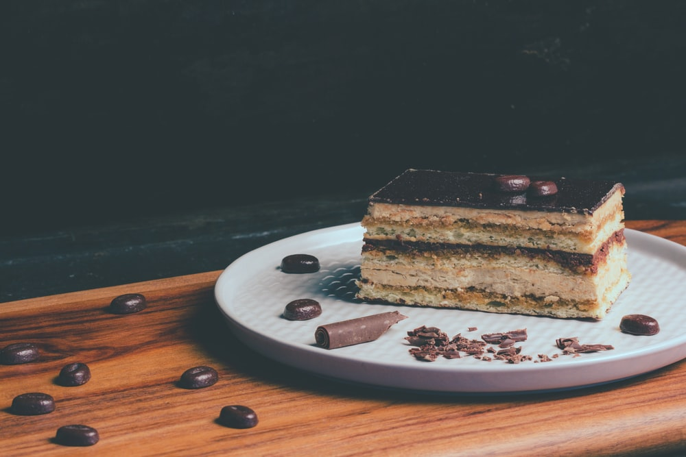 slice of cake placed on tray