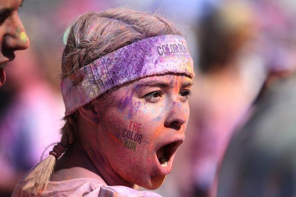 woman wearing white headband