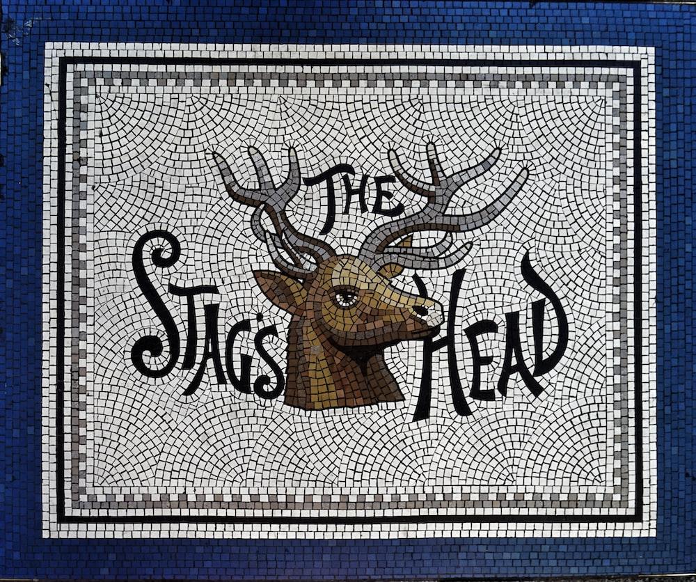 brown deer head taxidermy painting