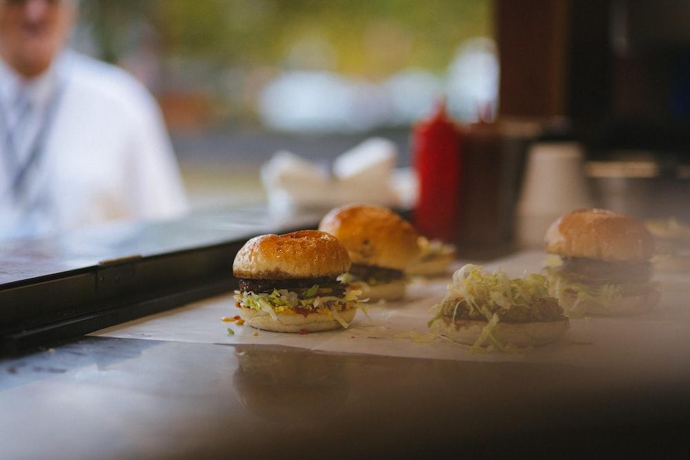 burger buns on table