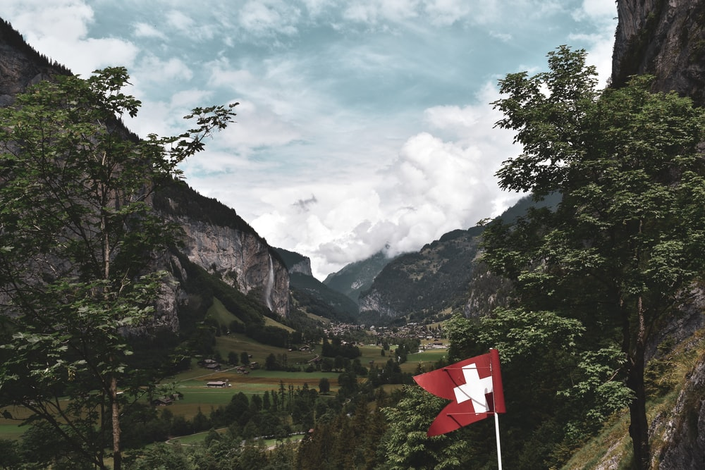 red and white cross flag