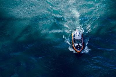 aerial photography of boat on body of water