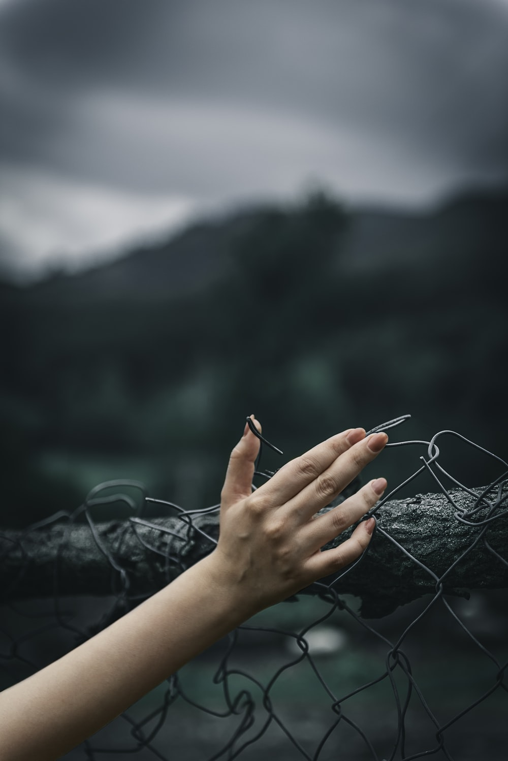 woman holding fence