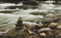gray rock-a-stack near falls