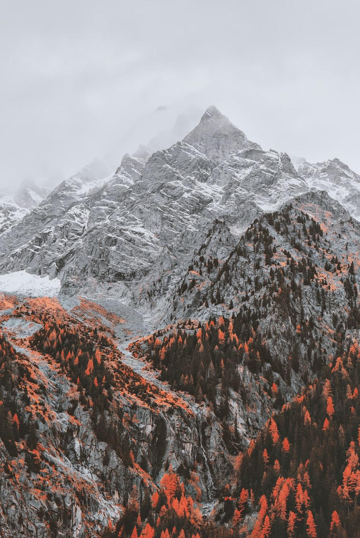 gray mountain under white sky