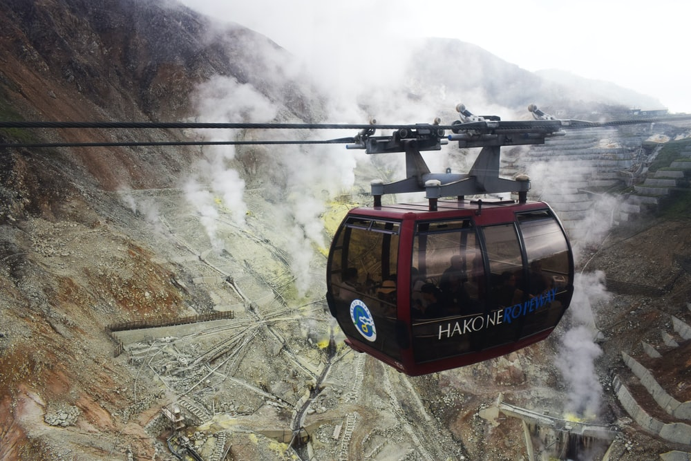 red and black cable car