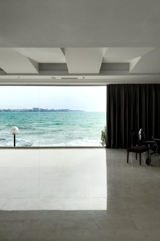 glass window facing sea