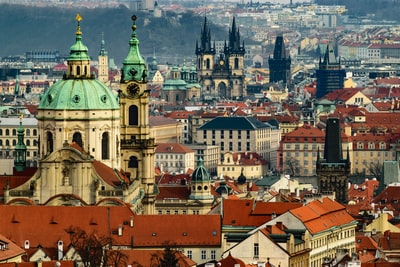 multicolored city skyline at daytime prague teams background