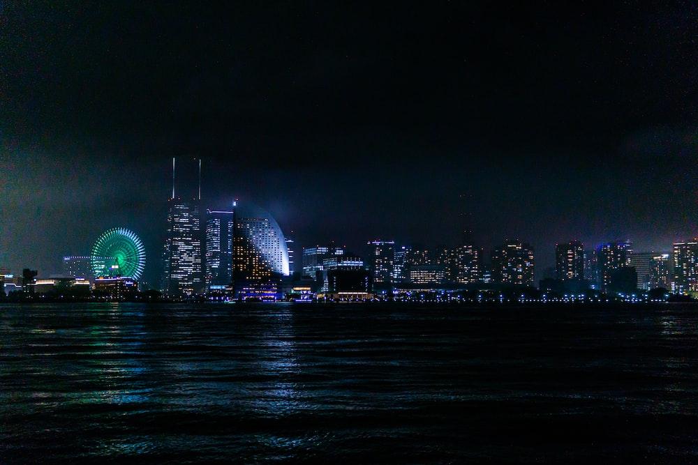 lighted city skyline at night