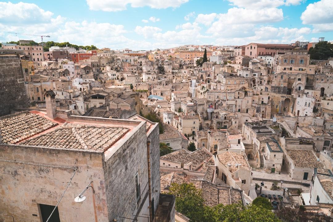 Vista della città vecchia di Matera in vista del 2019