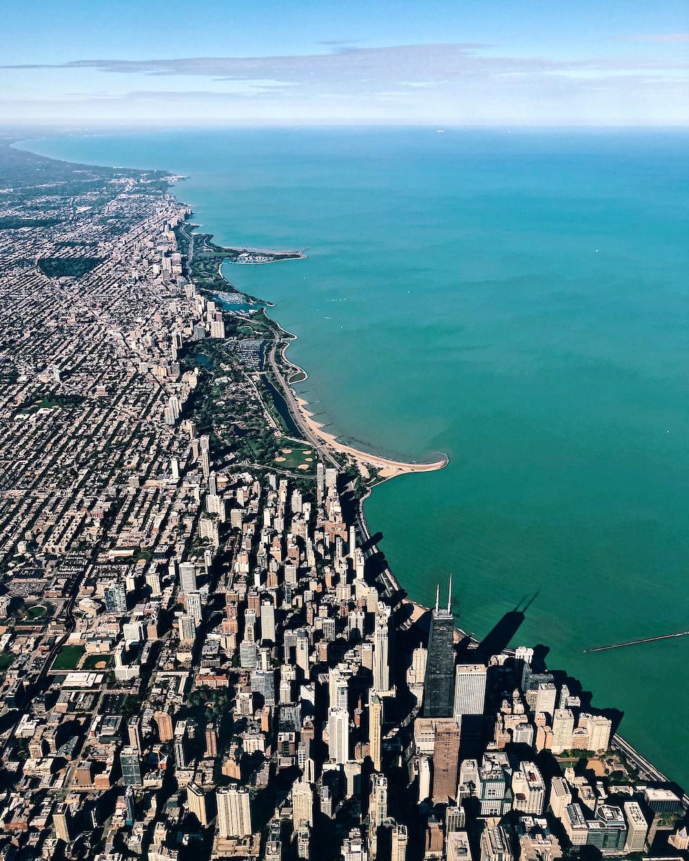 aerial photo of buildings near ocean