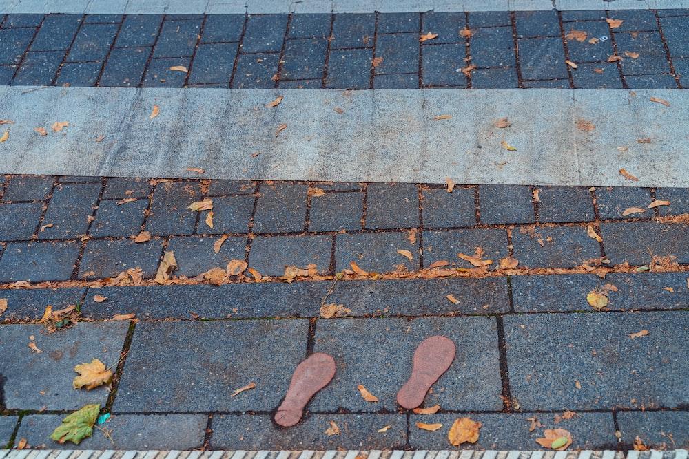 pair of brown shoe sols