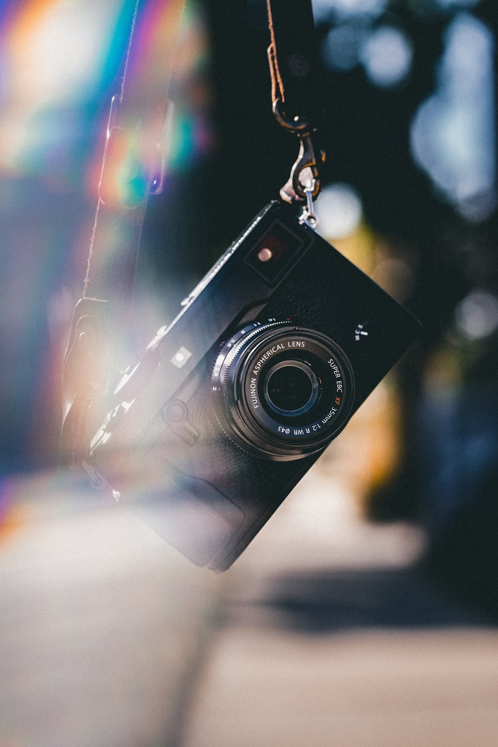 black point-and-shoot camera in selective focus photography