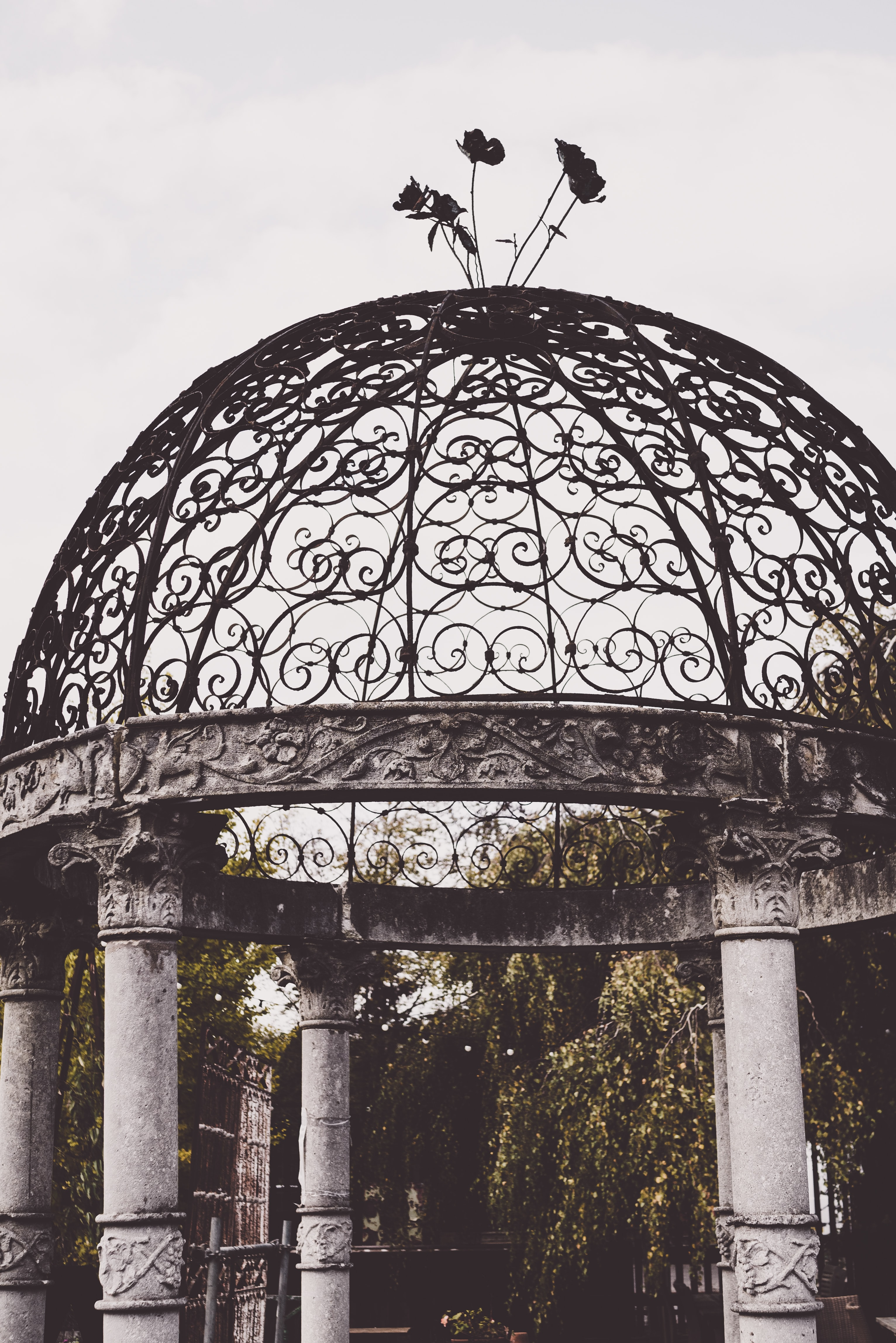 grayscale photography of dome top gazebo