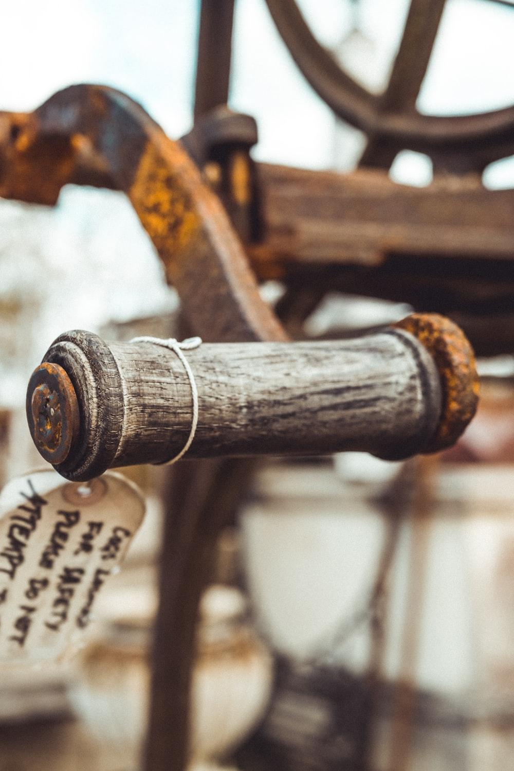 brown wooden handle