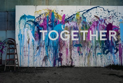 together signage together teams background