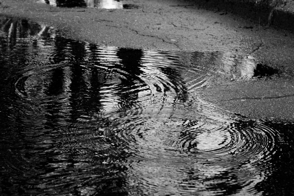 grayscale photography of water