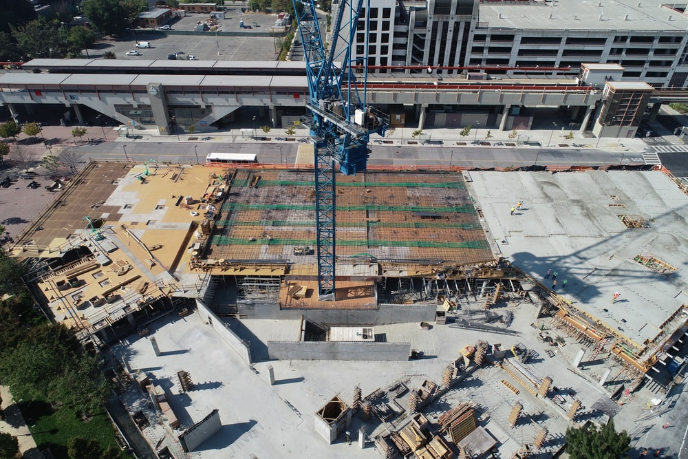 aerial view of crane tower