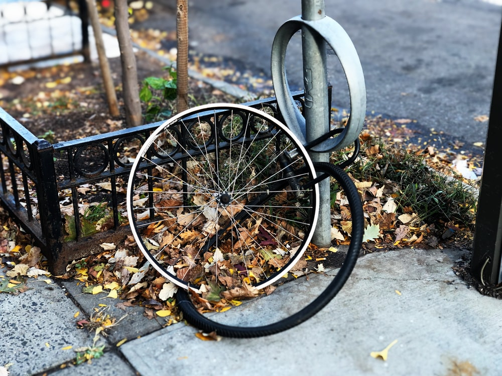 silver bicycle wheel