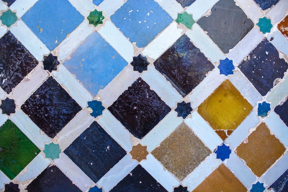 teal, purple, and brown tile