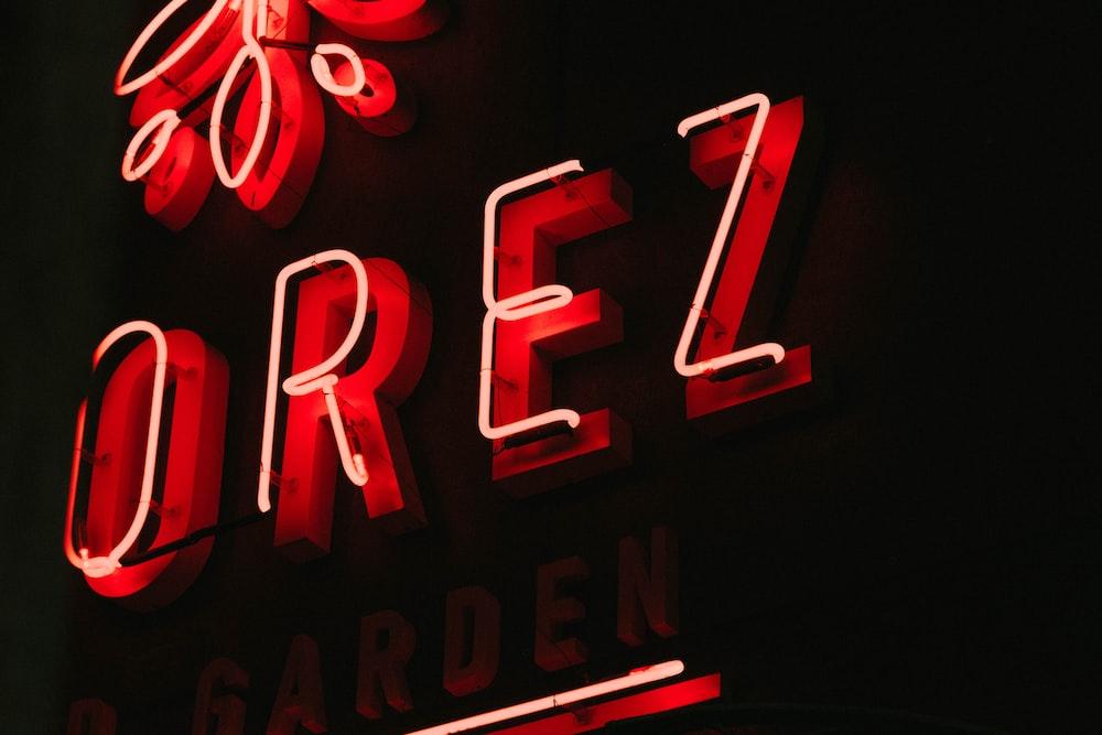 red OREZ neon signage