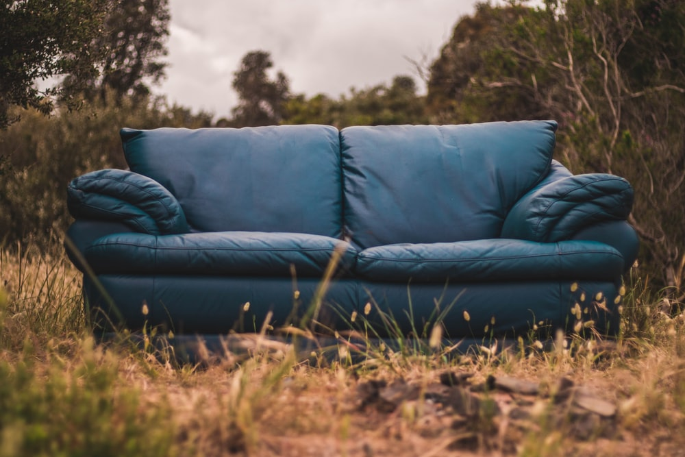 blue leather loveseat surrounded by grass