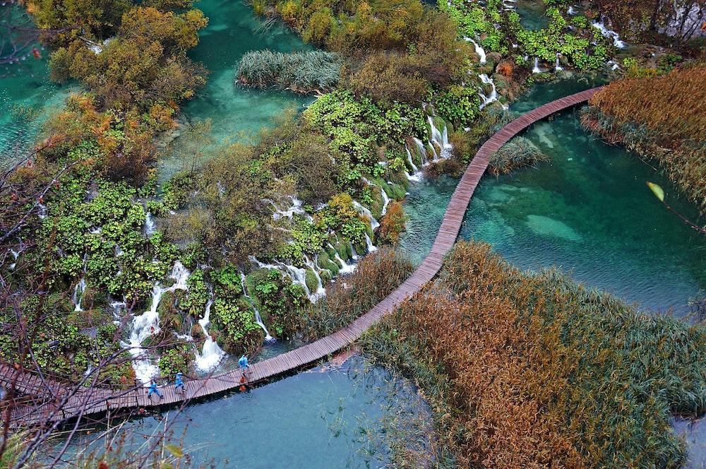 brown wooden dock on waterfalls