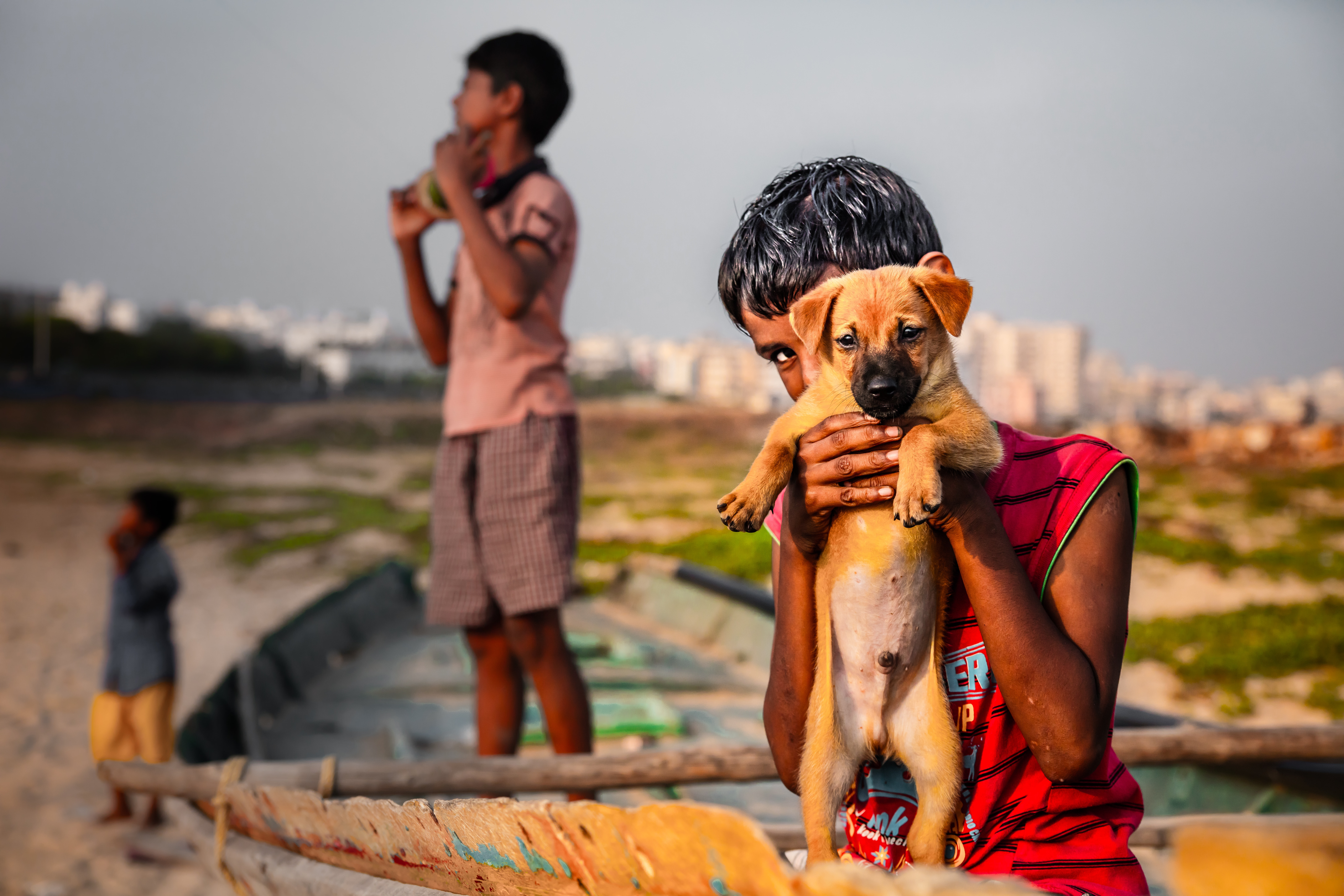 boy in red sleeveless shirt holding brown short-coated puppy
