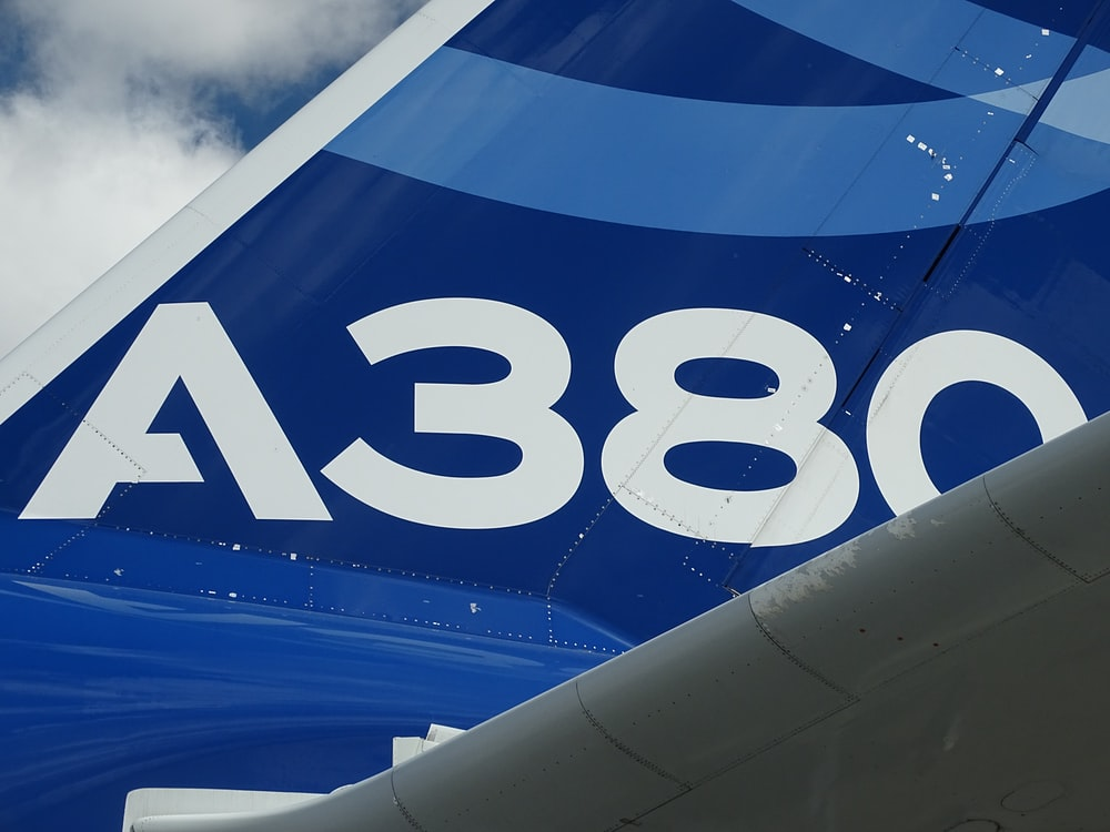 blue and white aircraft wing