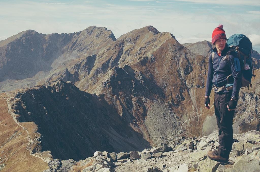 backpacker hiker at volcano