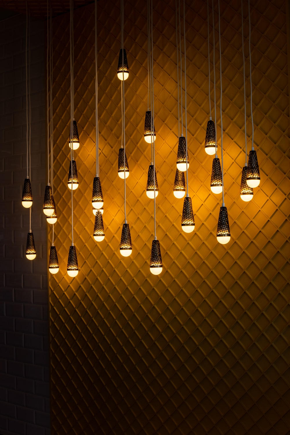 pendant lamps turned on