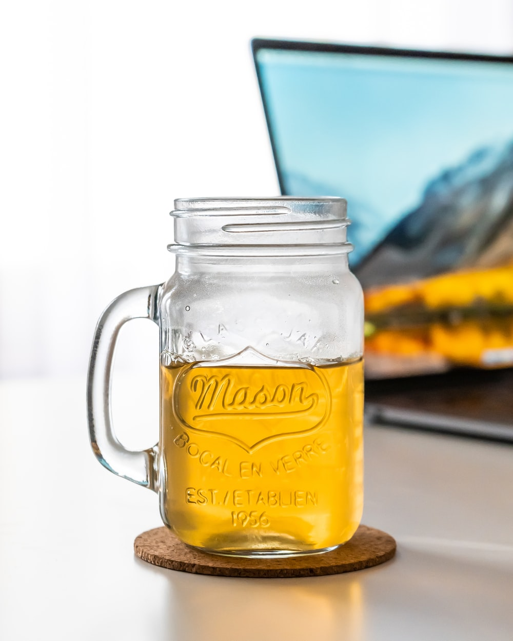 clear mason jar with handle