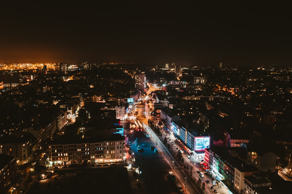 aerial view photography of city skyline at night-time